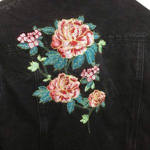 Rose Flower Embroidered Black Distress Jean Jacket